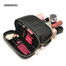 $enCountryForm.capitalKeyWord Australia - Double layer PU Cosmetic bag for makeup women small portable shell shape travel storage bag Toiletry Pouch
