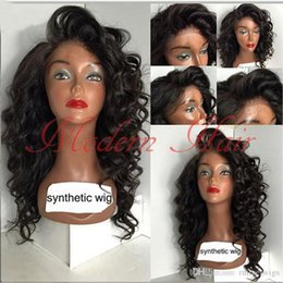 loose body synthetic wigs 2019 - Cheap Synthetic Lace Front Wig Loose Curly Heat Resistant Synthetic Wigs body wavy For Black Women Full Lace Wig Black H