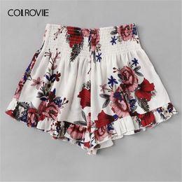 $enCountryForm.capitalKeyWord Australia - Colrovie Plus Size White Floral Print Elastic Waist Ruffle Hem Boho Shorts Women 2019 Summer Casual Beach Style Wide Leg Shorts Y19061101