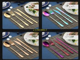 fork knife chopsticks NZ - 100set Korean flatware sets stainless steel long handle knife fork spoon chopsticks set colorful flatware for wedding kitchen accessories