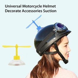 plastic motorcycle helmets UK - 1Set Universal Motorcycle Helmet Decorate Accessories Suction Cup Propellers Plastic 4Colors