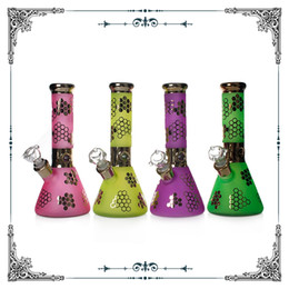 bongs 7mm Australia - 7MM thick Bong Sandblast & special electroplated Glass Smoking Beaker Water Pipes Hookah waterpipes