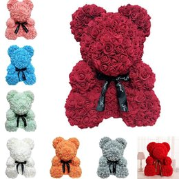 Venta al por mayor de 25 cm aumentaron oso flor de simulación de jabón regalo creativo se levantó de peluche del cumpleaños del oso del abrazo de oso T8G018 regalo