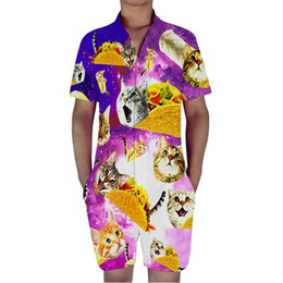 $enCountryForm.capitalKeyWord UK - Cat Eating Burger Print 3D Rompers Men Jumpsuit Playsuit Harem Cargo Overalls Summer One Piece Casual Zipper Beach Men's Sets