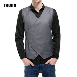 fa7de7d78f611 Mens Casual Vest Drawstring Button Suit Concise Design Solid Color  Sleeveless 2018 New Male Waistcoat SHUJIN FF