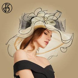 Sun Hats For Ladies Australia - FS Wide Brim Big Floral Sun Hats For Women Beach Party Hat Elegant Summer Ladies Large Fedoras