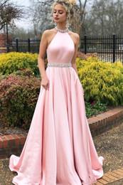 $enCountryForm.capitalKeyWord Australia - Pink Luxury Prom Dresses Jewel Neck Beaded Top Chiffon Sweep Train Hollow Back Evening Dresses Diamond Party Pageant Gowns 2019