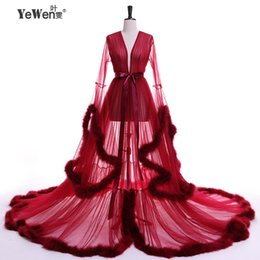 $enCountryForm.capitalKeyWord UK - Yewen Vestido De Festa Feather Long Sleeve Tulle Party Evening Dresses 2019 Sexy Burgundy Formal Prom Dress Gown Women Plus Size Y19051401