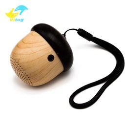Plastic Packaging Straps Australia - Nuts Speakers Wooden wireless bluetooth Speaker with Microphone Strap Wood Loudspeaker for iPhone Android with Reatail Package