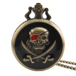 Hot Sale Ibeina Skull Theme Full Hunter Quartz Engraved Fob Retro Pendant Pocket Watch Chain Gift Watches