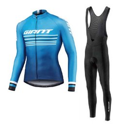 green giant clothing UK - New Team giant Cycling Jersey Set Spring Autumn MTB Cycling Clothing Breathable Long Sleeve Bike shirt bib pants set bicycle uniform Y200325