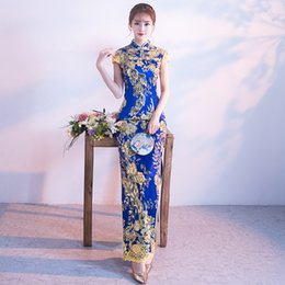 cheongsam dress china UK - Chinese Traditional Embroidery Dress China Wedding Qipao Long Evening Party Cheongsam Qi Pao Oriental Dresses Robe Chinoise