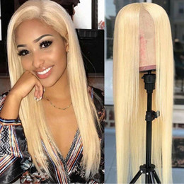 gluless human hair lace wig Australia - Full Lace Human Hair Wigs Lightest Blonde 613 Peruvian Hair Straight Gluless Lace Front Human Hair Wigs for Black White Women