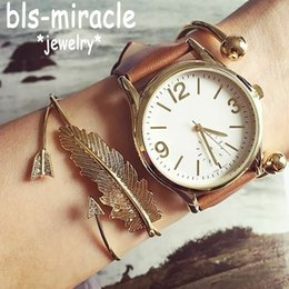 $enCountryForm.capitalKeyWord Australia - Bohemian Feather Word Bracelets & Bangles Gold Silver Color Crystal Cuff Charm Multilayer Bracelet Femme Party Gifts