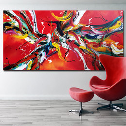 AbstrAct lines Art online shopping - SELFLESSLY Red Line Pop Art HD Print Abstract Oil Painting Printed on Canvas Modern Wall Art Picture Abstract Drop shipping