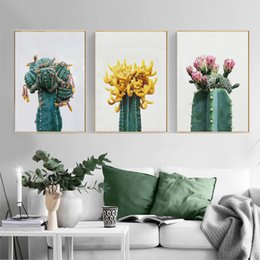 $enCountryForm.capitalKeyWord Australia - Cactus Canvas Painting Green Plant Flowers Posters Nordic Style Garden Wall Art Pictures Living Room Decor