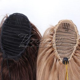 human hair straight drawstring ponytail Australia - 100g Straight Virgin Human Pony tail Hair Extensions Natural Non Remy Horsetail Tight Hole Clip In Drawstring Ponytail Blonde Brown Color
