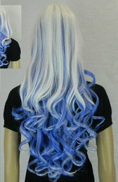 big white wigs 2019 - WIG Hot heat resistant Party hair>>New Halloween Mix Blue White Big Spiral Heat-Resistant Lady's Cospaly Wig