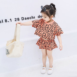 girls leopard print tops Canada - Child Designer Clothing Sets 2019 Brand Girls Short Sleeve Tops + Shorts Two Piece Clothes Printed Leopard Kids Casual Clothing Girl Tshirts