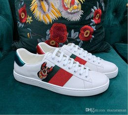 Dog shoes sizes online shopping - Fashion Designer Casual ace Shoes Red and black jacquard stripe elastic tape bee dog heart snake sneakers for men women big size