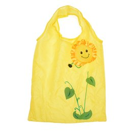 Chinese  Cute Cartoon Sunflower Shopping Bag Waterproof Folding Handbag Large Capacity Folding Reusable Storage Bag for Travel manufacturers