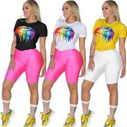 $enCountryForm.capitalKeyWord Australia - women Summer Top Tees Sexy color Lips Painted t shirt Short Sleeve round neck brand fashion Rainbow Lip Casual Tshirt S-3xl Plus Size