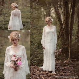 61bdf0b76c Fairy Lace Vintage Into Woods Wedding Dresses with Long Sleeve 2018 V-neck  Full length Country Boho Bridal Gown Rue de Seine