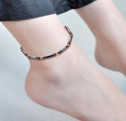 round silver magnetic balls UK - 2020 Europe and the United States hot - selling new foot ornaments magnetic black stone anklet