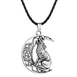 Wolf Pendant Men Australia - Antique Moon Howling Wolf Pendant Valknut Odin 's Symbol of Norse Viking Warriors Necklace for Men