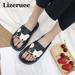 f9c1ced13115 Funny Slippers Heel Canada - Beach slippers Animal Bulldog Slippers Summer  Sandals Flip Flops Women Cartoon