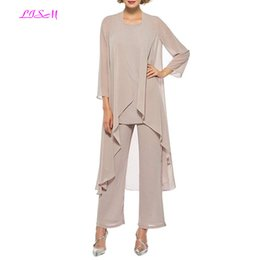 $enCountryForm.capitalKeyWord Australia - Elegant Three Pieces Mother Of The Bride Dresses Chiffon Pant Suits With Long Jacket Plus Size Mother Of The Groom Dress 2019 J190622