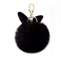 fluffy bunny ears UK - Cute Fluffy Fur ball Keychains Rabbit Ear Ball Pendant For Purse Phone Bunny Pompom Keyring Ornaments Hair Ball Keychain