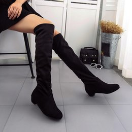 Short leg ShoeS online shopping - Women Shoes Over Knee Boots Sexy Winter Autumn Flat Boots Shoes High Leg Suede Short Long Female Pointed Toe Winter