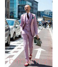 Mens yellow wool jacket online shopping - Handsome Pink Wedding Mens Suit Slim Fit Pieces Formal Prom Tuxedos Custom Groom Men Blazer Dinner Party Suits Jacket Vest Pants