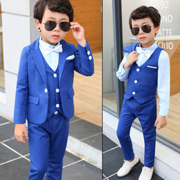Blue Shirt For Wedding Australia - Boy Formal Suit 5 Pieces (Jacket+Pants+Vest+Shirt+Bow Tie) Kids Prom Tuxedos 1 Button Blazer Ring Boy Suit for Wedding Party Custom Made