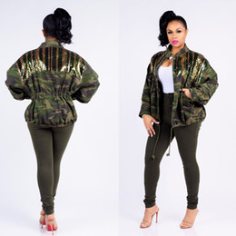 $enCountryForm.capitalKeyWord NZ - YAMARKET Autumn Casual Outwears Camouflage Splice Striped Sequins Jacket Womens Clothing Army Green Long Sleeve Tops EQ160