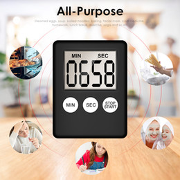 plastic lcd screen Canada - Super Thin LCD Digital Screen Kitchen Timer Square Cooking Count Up Countdown Alarm Sleep Stopwatch Temporizador Clock