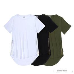 $enCountryForm.capitalKeyWord Australia - 2016 100% Cotton Long Oversize T-shirt Black Side Zipper T Shirt Homme Curved Hem Extend Multi Fold Tee free shipping