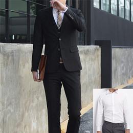 Discount black shirt office men 3PCS JACKET+PANTS+Shirt Set Men Suits Plus Size Business Office Suits Male Wedding Party Blazer Bridegroom Groomsman Tux