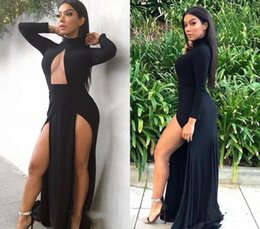 holiday evening gowns floor length Australia - Black Color Split Prom Dresses Sexy High Neck Long Sleeves Pageant Holidays Graduation Wear Formal Evening Party Gowns Plus Size