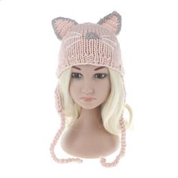 White Black Hats For Kids Australia - 2017 Children Winter Hat Wool Knit Beanie Skullies for Girls and Boys Lovely Cat Ear Kids Hats Outdoor Warm Cap Pink black white