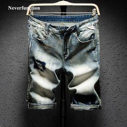 bb9654c081 New Men Retro Ripped Holes Bermuda Straight Jeans Short Fashion Hip hop  Mens Casual Loose Summer Beach Denim shorts Size 38