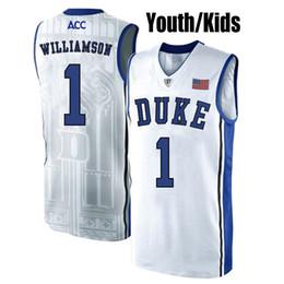 f1d64cfbc74 2019 Kids Zion Williamson Youth Duke Blue Devils RJ Barrett Stitched Blue  Black White Kids College Basketball Jersey on Sale
