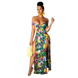 c739b8eb0b6a Women Elegant High Split Long Dresses Fashion Sexy Strapless Night Club  Evening Party Summer High Waist Maxi Dress