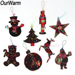 scratch drawing paper Australia - OurWarm 24pcs lot Magic Color Scratch Christmas Ornaments Kids DIY Paper Ornaments Decoration Coloring Cards Drawing Toys SH190916