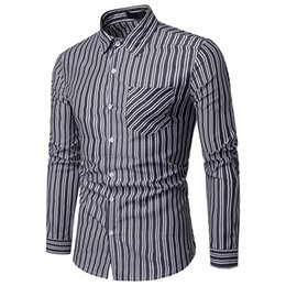 6a2e0f178ec1c7 2019 New Fashion Mens Smart Casual Business Spring and Autumn Stripes Casual  Long-sleeve Mens Shirt