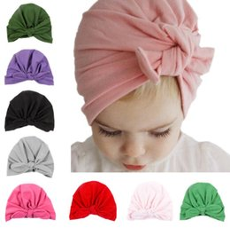 Wholesale INS Baby Bow Hat Bunny Ear Caps Europe Style Turban Knot Head Wraps Hats Colors Infant India Hats Kids Winter Beanie BY0710