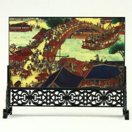 Decoration Screen Australia - The Ancient Chinese Exquisite Lacquerwared Handmade Carved Ascending the River at Qingming Festival Screen R3004+a Crafts Decoration