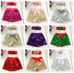 wholesale girls sequin shorts Canada - Baby Girls Sequins Shorts Pants Casual Pants Fashion Infant Glitter Bling Dance Boutique Bow Princess Shorts Kids Clothes 17 color