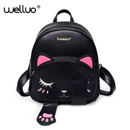 $enCountryForm.capitalKeyWord Australia - Cute Cat Backpack School Women Pu Leather Backpacks For Teenage Girls Funny Cats Ears Canvas Shoulder Bags Female Mochila Xa531b Y19051405